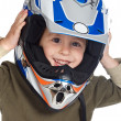 Adorable boy with a helmet in the head — Stock Photo #9432101