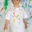 Little boy playing with painting — Stock Photo #9432109