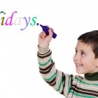"""Adorables child writing the word """"holiday"""" — Stock Photo"""