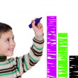 Adorable child drawing a colorful graphic — Stock Photo
