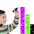 Adorable child drawing a colorful graphic — Stock Photo #9432118
