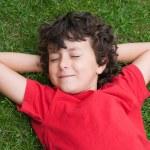 Happy child asleep on the grass — Stock Photo #9432252