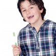 Smiling child without a toothbrush — Stock Photo #9432308