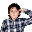 Adorable child with plaid t-shirt isolated — Stockfoto #9432312