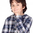 Smiling child with plaid t-shirt — Foto de Stock