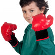 Funny boy with boxing gloves — Stock Photo