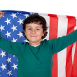 Adorable boy with american flag — Stock Photo #9432395