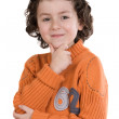 Thoughtful boy with orange clothes — Stock Photo #9432468