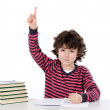 Boy studying a over white background — Stock Photo #9432475