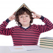 Adorable student boy in the school — Stock Photo #9432480