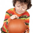 Boy whit tour money box — Stockfoto