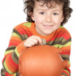 Boy whit money box — Stockfoto