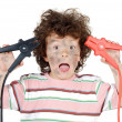 Stock Photo: Boy victim with electricity