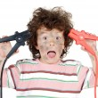 Boy victim with electricity - Stock Photo