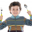 Child with a spoon and fork — Stock Photo #9432878