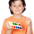 Nice child with watercolor and brush — Stock Photo #9432962