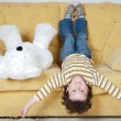 Boy and teddy bear - Stock Photo