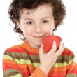 Child whit apple — Stok fotoğraf