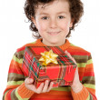 Child with a gift box — Stock Photo
