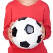 Student little child with soccer ball — Stok fotoğraf