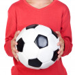 Student little child with soccer ball — Стоковая фотография