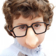 Adorable boy with glasses and nose of toy — Stock Photo #9433283