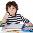 Adorable boy studying — Stok fotoğraf