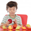 Child playing with fruits — Stock Photo #9433452