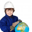 Adorable future builder constructing the world — Stock Photo #9433464