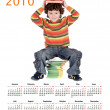 Student sitting in a 2010 calendar — Stock Photo #9433465