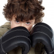Boy with boxing gloves - Stok fotoraf
