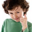 Funny boy pointing the finger — Stock Photo