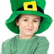 Child with green hat - Stock Photo