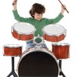 Beautiful boy playing the drums — Stock Photo #9433668