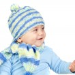 Beautiful baby warm with hat and scarf — Stock Photo #9434104