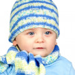 Beautiful baby warm with hat and scarf — Stock Photo