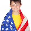 Funny child with yellow t-shirt with American flag - Stock Photo