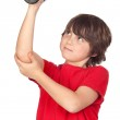 Funny child playing sports with weights — Stock Photo #9434637