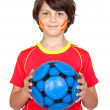 Stock Photo: Smiling child fof Spanish team
