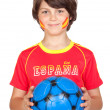 Smiling child fan of the Spanish team — Stock Photo #9434688