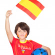Smiling child fan of the Spanish team — Stock Photo #9434691
