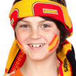Child fan of the Spanish team with a scarf on the forehead — Foto Stock