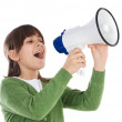 Girl with megaphone — Stock Photo #9435235
