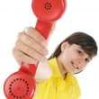 Girl with telephone — Stock Photo #9435250