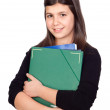 Student girl with green folder — Stok fotoğraf