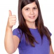 Adorable preteen girl accepting with the tumbs — Stock Photo #9435316