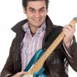 Guitarist leather jacket — Stock Photo