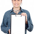 Casual boy with notepad — Stock Photo #9435725