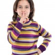 Adorable girl ordering silence — Stock Photo #9435935