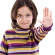 Beautiful girl saying stop with her hand — Stock Photo